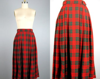 CLEARANCE // Vintage 1950s Red Plaid Skirt 50s Red and Green Rayon Gabardine Pleated Skirt by Coddington 25 Waist