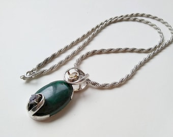 Modernist Sterling Silver Malachite/Amethyst/Citrine Pendant & Necklace Chain  Free Domestic Shipping