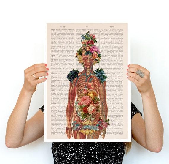 You are beautiful -Woman gift- Feminist art- Wall decor art, Anatomical art  Best friend gift, Giclee wall art, SKA115PA3