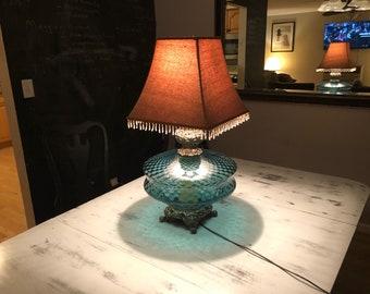 Large Vintage Hollywood Regency Blue Glass Table Lamp with nightlight