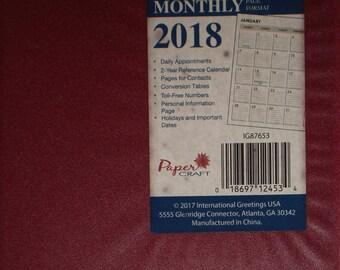 Vinyle rouge 2018 mensuel Planner / organisateur