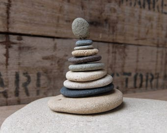 Rock cairn - stone pyramid to play .... round rocks stackable with metal rod .... zen, sacred space, office, home decor