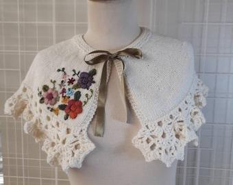 Wedding capelet, Ivory wedding wrap, knitting capelet, Wedding Accessories, Wedding Shawl, Wedding Shrug, Bridal Capelet, Bride cape
