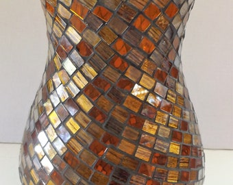 Mosaic Stained Glass Hurricane Lamp Candle Holder/Vase in Shades of Gold and Amber