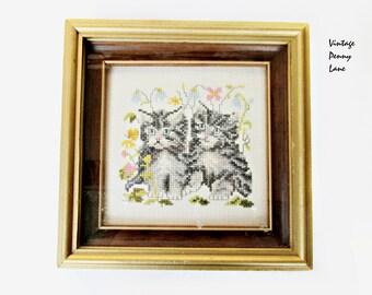 Vintage Needlepoint Cat Art, Wood Framed