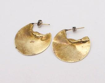 Tribal Bronze Hoop Circle Earrings