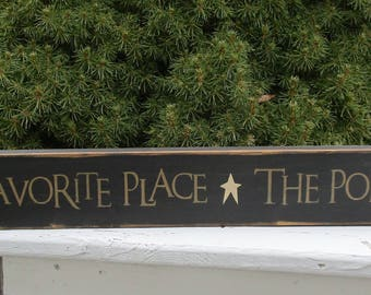 """Porch Sign ~ My Favorite Place The Porch ~ READY TO SHIP ~ Farmhouse, Rustic, Country, Cottage, Primitive, 3.5""""x24"""" Wood Sign"""