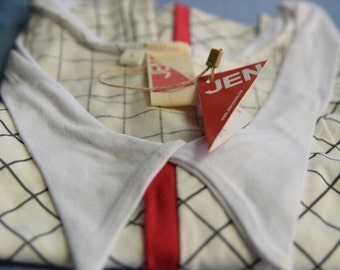 LAST SALE 50% off!!!! Under 50,  Red line collared shirt in checkered white