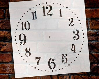 Provincial Round Clock Face Stencil by StudioR12 - For DIY Paint Wood Clocks Small to Extra Large Farmhouse Country Home Decor - SELECT SIZE