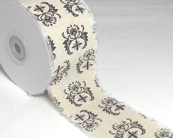 Black Print Burlap Ribbon 60 mm, Black Print Burlap Ribbon Cut-Edge Ribbon Damask Print, Damask Print 60 mm Burlap Ribbon By the Metre