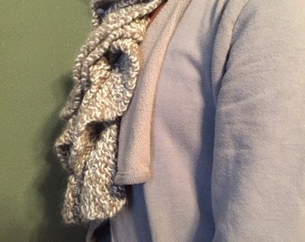Ruffle Knit Scarf, Tan and White OR Green variegated