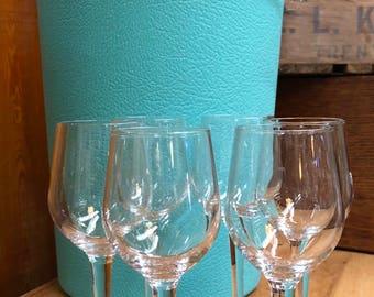 Mid Century Crystal Cordial Glasses, Set Of 6, Vintage Small Wine Glasses, Mid Century Barware, Clear Vintage Stemware