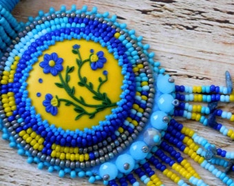 Turquoise necklace, seed bead necklace, blue jewelry, gift for her