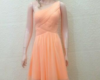 Peach Dress. Bridesmaid Dress. Evening Dress