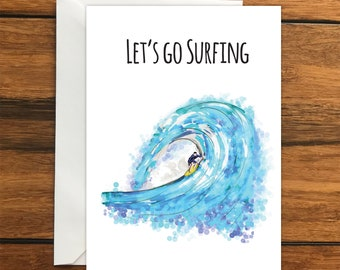 Let's go Surfing Blank greeting card, perfect surprise holiday gift card A6