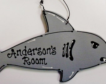 Adorable SHARK Kids PERSONALIZED Room Door SIGN Boy Name Wall Plaque Decor Handcrafted Handpainted Wood Wooden