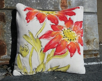 Large Red Flower, Spring Designs, Hand-painted, Patio Cushions, Accent Pillows, Indoor, Outdoor, Pillow Cover