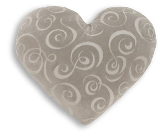 Silver Swirl Heart Shaped Decorative Pillow - Small Size
