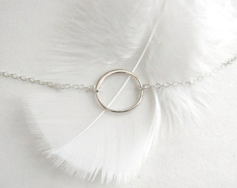 Simple Circle Necklace, Sterling Silver Halo Necklace, Open Circle Necklace, Sterling Silver Eternity Necklace - Sterling Silver Chain