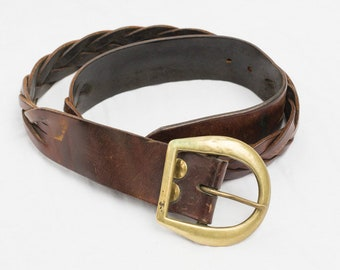 Vintage 70's Brass Buckle and Leather Belt - 1970s 1970's 70s - Hippie Boho