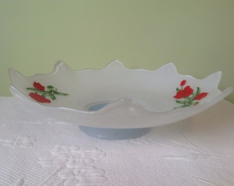 """Console Indiana Glass Tulip - """"Double Fleur de lys"""" kit # 607 - cream serving - table centerpiece or fruit bowl / / made in the United States"""