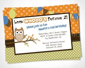 Woodsy Owl Birthday Invitation - Blue - DIY Printable