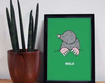 Mole Print -A4- mole - green print- gardener gift - mole art - mole gift - charity gift - animal print - mole illustration - nursery decor