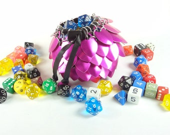 Dungeons & Dragons Large Dice Bag Pink Scalemaille And Chainmaille Aluminum - SKDB-SC-L-PK