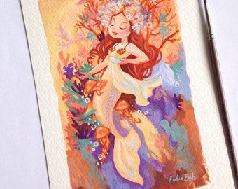 Autumn Mermaid - Alphonse Mucha inspired series - 5 x 7 inches - Fine Art Print