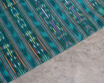 Ethnic Cotton Fabric (#14) from Guatemala with Ikat design - Emerald Green Handmade Fabric - 1 yard
