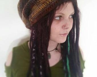 Chunky crochet Dreadlocks hat in tones of brown.