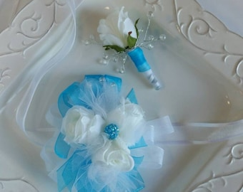 White Rose and Bright Blue Ribbon Wrist Corsage and Matching Boutonniere  Prom Set Ready To Ship comes with clear corsage box