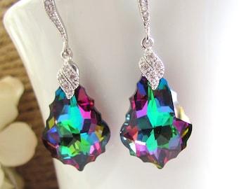 Violet Crystal Earrings, Rainbow Crystal Earrings, Bridal earrings, Bridesmaids Earrings, Chandelier Drop Earrings