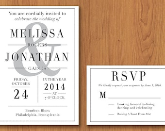 Classic Wedding Invitation // Printable, DIY Wedding, Wedding Invitation, Custom Invitation