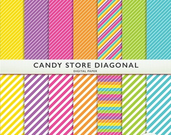 Digital Paper - Candy Store Diagonal -  Pink Purple Green Orange Yellow Blue - Scrapbooking G7007
