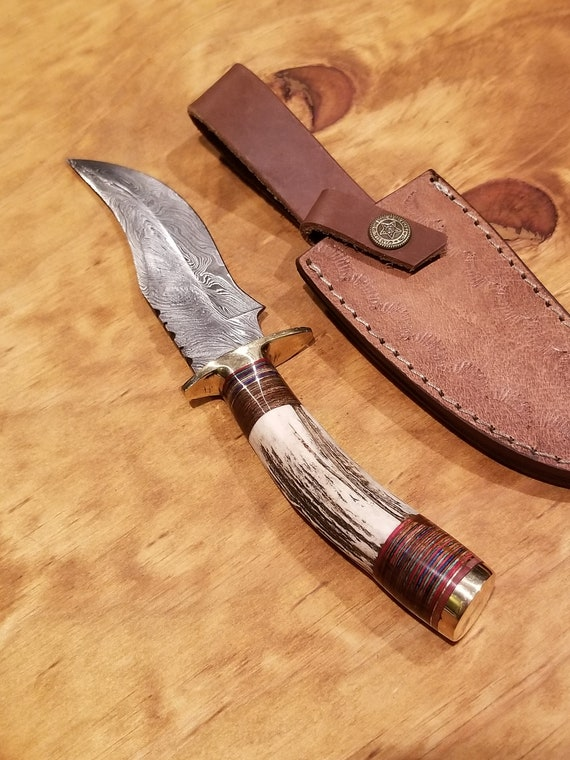Handmade Deer Antler Handle Hunting Knife Damascus Blade Stag Horn Collection With Leather Sheath Premium Outdoors (K82)