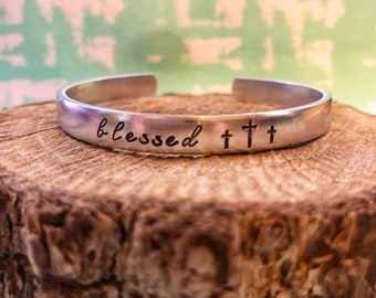 Blessed Bracelet, Faith, Stackable Bracelet, Handstamped Bracelet, Cross Bracelet, Christian Jewelry, Christian Bracelet, God Girl, Christia
