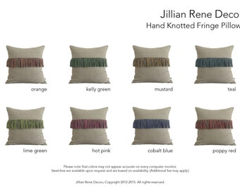 CUSTOM Fringe Pillow Cover in Natural Linen - Hand Knotted Accent Pillow by JillianReneDecor - Modern Home Decor - Boho Chic (Select Colors)