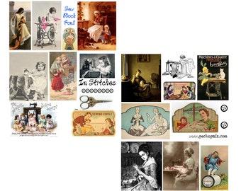 In stitches digital collage set