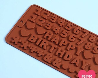 Happy Birthday Candy Mold, Silicone Chocolate Mold, Mini Chocolate Letter and Numbers Mold, Silicone Candy Moulds, Chocolate Candy Molds