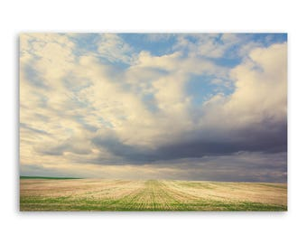 """large canvas wall art, large wall art, large colorful landscape wall art, landscape on canvas, large art on canvas - """"Across the Fields"""""""
