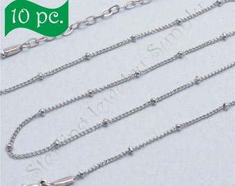 10 pc. 20 inch Stainless Steel Station Ball Chain for Floating Locket, Bulk Station Ball Chain for Locket, USA Seller (PC109-S)