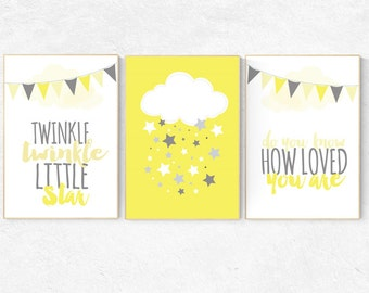 Twinkle Twinkle Little Star, yellow nursery decor, gender neutral baby, cloud nursery, Baby Boy Nursery, Baby Girl new baby gift yellow gray
