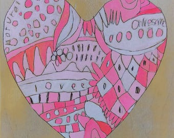Candy Heart : Pink Heart 8x8in Jennifer Mercede Valentine's Day