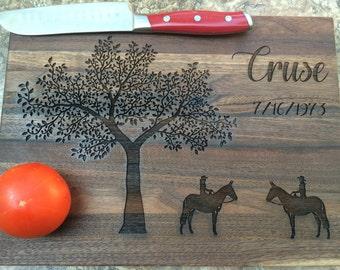 Personalized Mule Rider Cutting Board, Personalized Wedding Gift, Anniversary Gift, Personalized Gifts, Housewarming Gift
