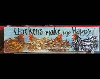 "5.5"" X 21"" #210 Chickens Make Me Happy Original Painting"