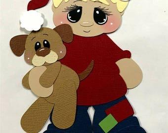 Elite4u Kam Premade Blonde Hair Boy CHRISTMAS Dog Paper Piecing Die Cut For Scrapbook Page Layout