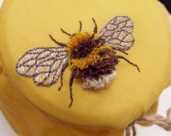 Honey Jar Bonnet, Bee, Embroidered Bee