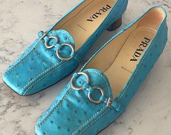 Prada Ostrich Skin Shoes Ostrich Skin Kitten Heels 8 1/2 Medium