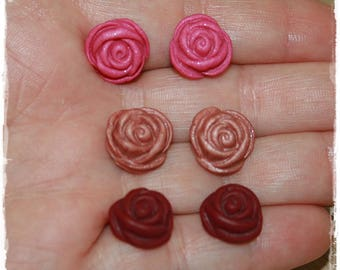 -Small ROSE Cabochons in polymer clay (Fimo) - 12mm - set of 6-